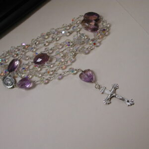 "Sterling silver handmade Rosary 45"" Amethyst and Ametrine & crystal bead Necklace"