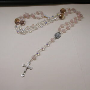 "Sterling silver handmade Rosary 44"" Rose Quartz and Ametrine & crystal bead Necklace"