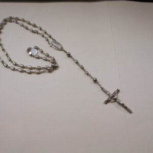 """Vintage Sterling silver Creed Rosary 35"""" with rectangle block and round beads 2"""" crucifix"""