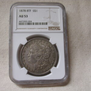 1878 Morgan 8TF Tail Feathers NGC AU53