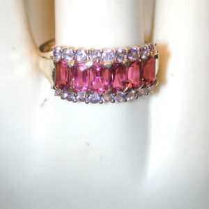 14KT 3 carat Pink Tourmaline & tanzanite 10mm Band Size 9
