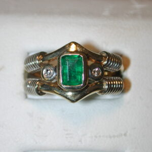 Geometric 14KT two tone Emerald Diamond ring size 6 handcrafted Modern 12mm wide