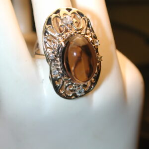 14KT Filigree Diamond & 10 CT  Topaz large oval dramatic cocktail ring!