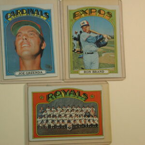 1972 Topps lot of 3 Ron Brand, Joe Grzenda, Royals Team