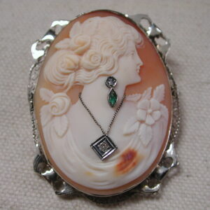 14KT Victorian Cameo diamond & emerald earring & necklace 38 x 48mm