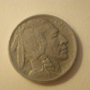 1913 TYI (on Mound) U.S Indian Head 5 Cents EF