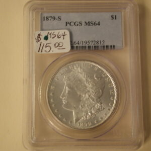 1879-S Morgan Silver Dollar PCGS MS64 bright white blazing