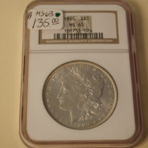 1890 Morgan Silver Dollar NGC MS63 blazing