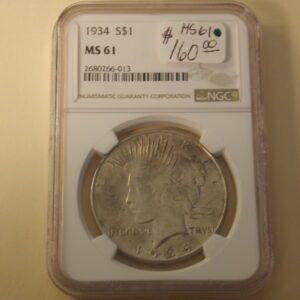 1934 Peace Dollar NGC MS61