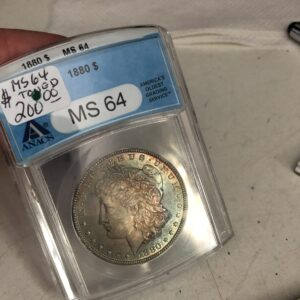 1880 Morgan Silver Dollar Rainbow Toned ANACS MS64