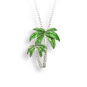 "Nicole Barr Green Palm Tree Necklace Sterling Silver Enameled 18"" adj chain"