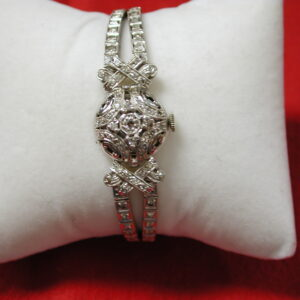 "14KT Diamond 1.75 carats filigree dress watch bracelet 7"" carats 5/8"" wide"