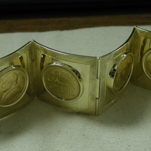 Gold 82 gram Cuff Heirloom bracelet with World Coins from 1867-1917- 1944- 1951- 1960