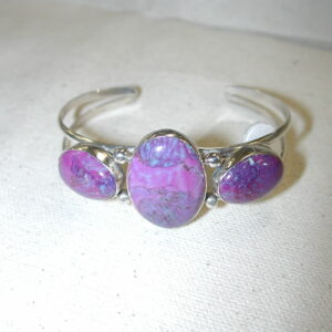 G. BOYD dyed Turquoise Purple sterling cuff bracelet