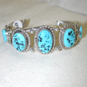 Sterling Silver Turquoise Oval cuff bracelet hallmarked TP