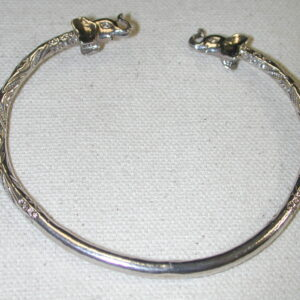 Elephant Sterling Silver Cuff bangle solid Bracelet