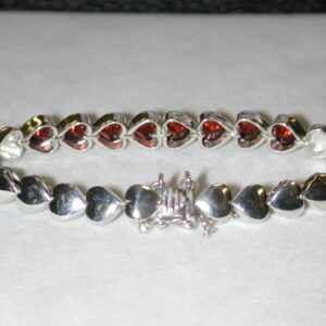Sterling Garnet Hearts bracelet Peyote Bird Designs- 8-6.5 MM Heart Faceted Garnets