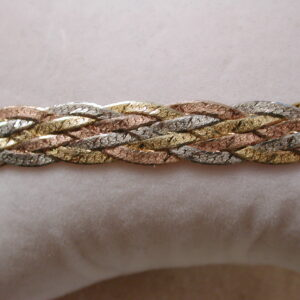 Tri-Color Sterling 10mm Braided Bracelet Italy 7 3/8 Inches