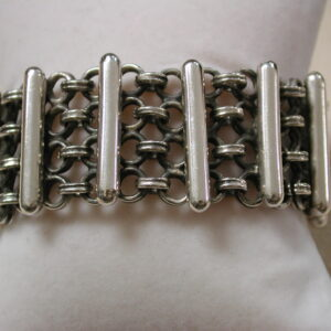 Sterling Silver 30mm cuff Bar and Circle Bracelet 7.5 inches Taxco