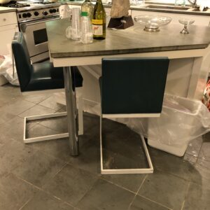 Brueton pair custom Kitchen stools Teal Spinnybeck leather and white bases